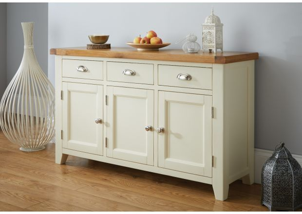 Country Cottage 140cm Cream Painted Large Oak Sideboard