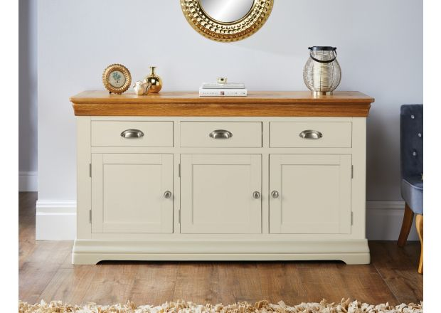 Farmhouse 140cm Cream Painted Large Oak Sideboard - AUTUMN SALE