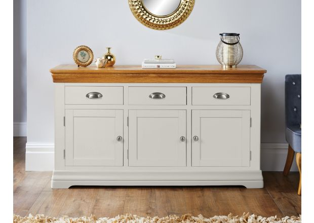 Farmhouse 140cm Putty Grey Painted Oak Sideboard - AUTUMN SALE