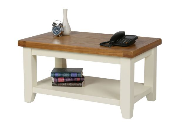 Country Cottage Cream Painted Oak Coffee Table with Shelf - WINTER SALE