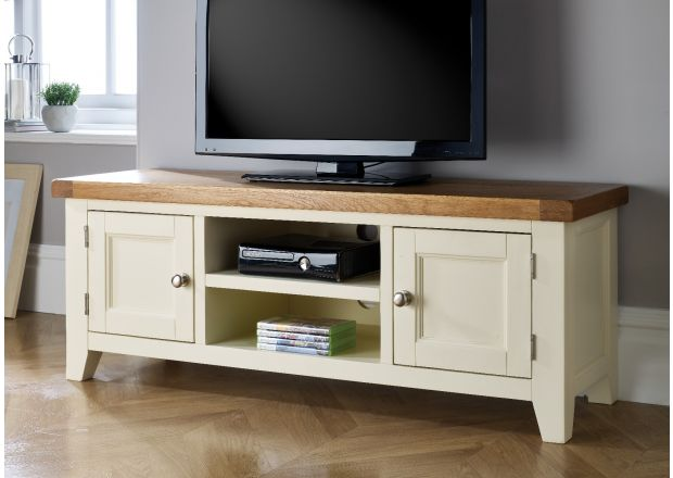 Country Cottage Cream Painted Large Double Door Oak TV Unit