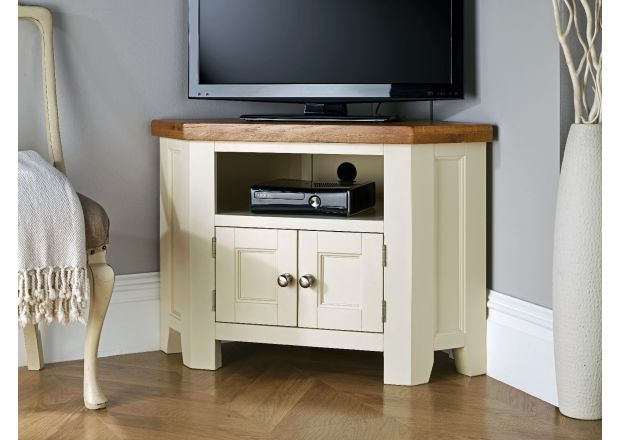 Country Cottage Cream Painted 2 Door Corner Oak TV Unit - WINTER SALE