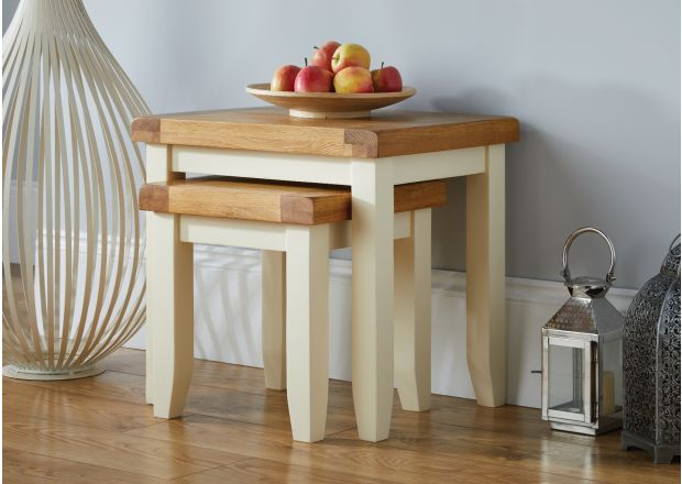 Country Cottage Cream Painted Oak Nest of Two Tables - SPRING SALE