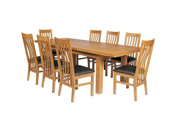 Country Oak 280cm Standard Leg Extending Table 8 Chelsea Brown Leather Chair Set - SUMMER SALE