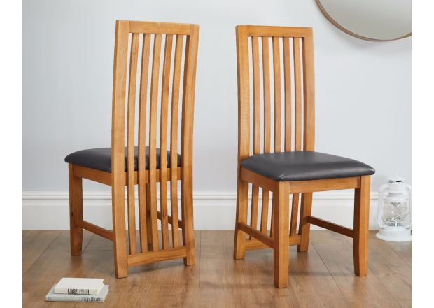 Cotswold Black Leather Solid Oak Dining Chairs - SPRING SALE