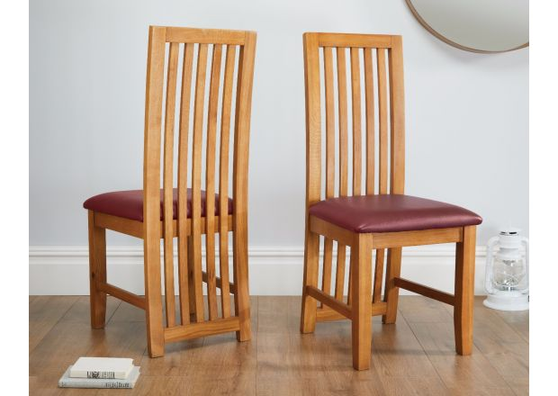 Cotswold Red Leather Solid Oak Dining Chair - SPRING SALE
