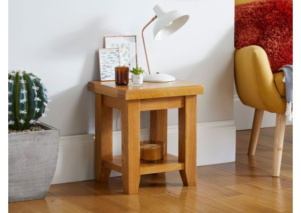 Country Oak Petite Lamp Table With Shelf