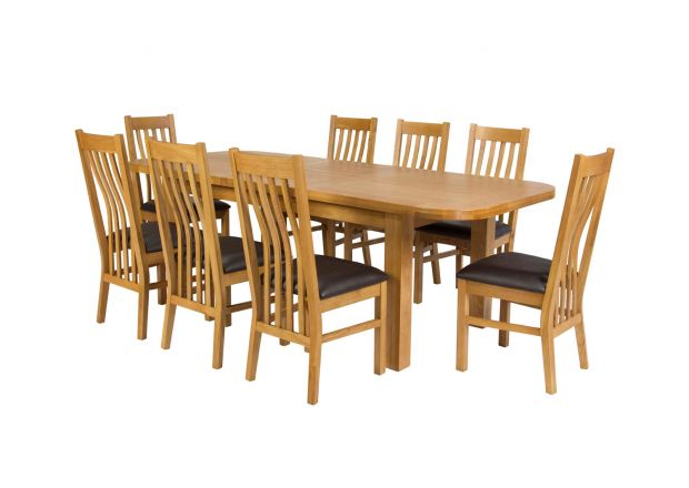 Country Oak 280cm Extending Oak Table and 8 Chelsea Brown Leather Chairs - SUMMER SALE