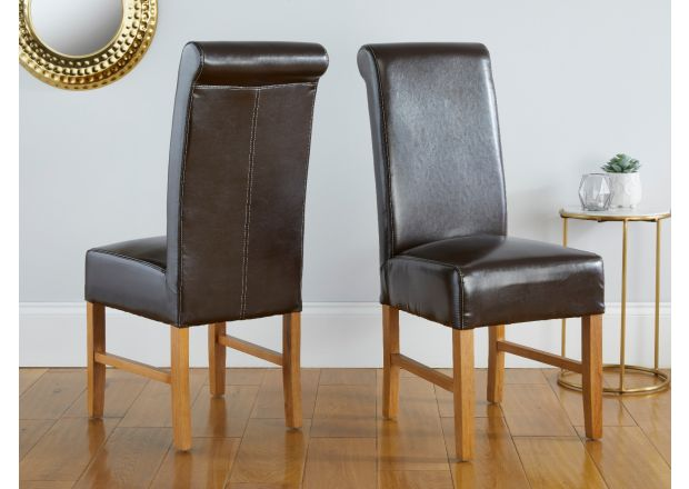 Emperor Dark Brown Leather Scroll Back Dining Chairs - AUTUMN SALE