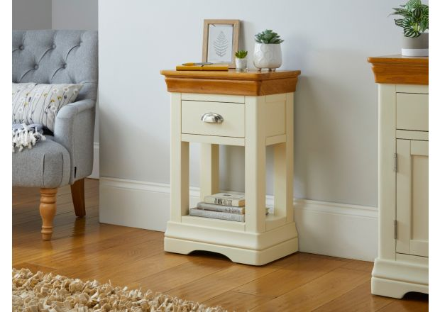Farmhouse Cream Painted Oak Telephone Side Table