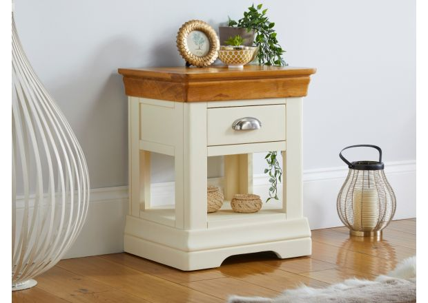 Farmhouse Cream Painted Oak Lamp Table / Bedside Table