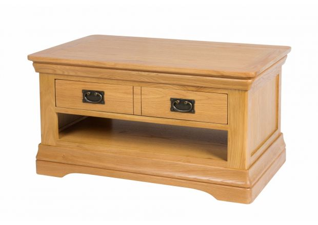Farmhouse Oak Coffee Table with Drawer and Shelf - WINTER SALE