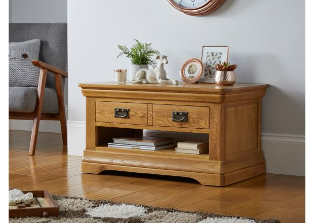 Farmhouse Oak Coffee Table with Drawer and Shelf storage