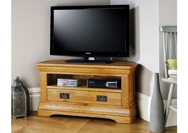 Farmhouse Oak Corner TV Unit with Drawer - WINTER SALE