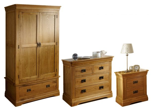 Farmhouse Oak Bedroom Furniture Set - Double wardrobe, 2 over 2 chest & 2 drawer bedside - WINTER SALE