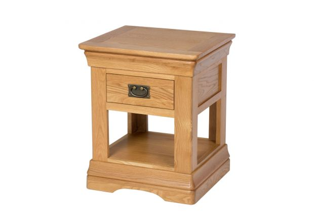 Farmhouse Country Oak 1 Drawer Bedside Table