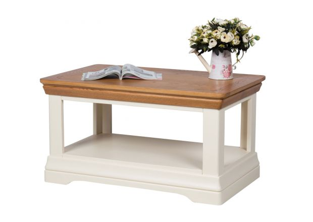 Farmhouse Cream Painted Coffee Table with Shelf - WINTER SALE