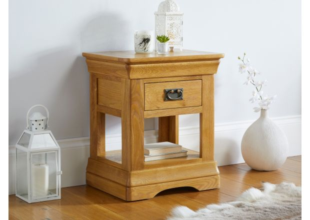Farmhouse 1 Drawer Oak Lamp Table - French Design