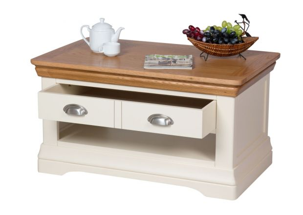 Farmhouse Cream Painted Oak Coffee Table with Drawers - SUMMER SALE