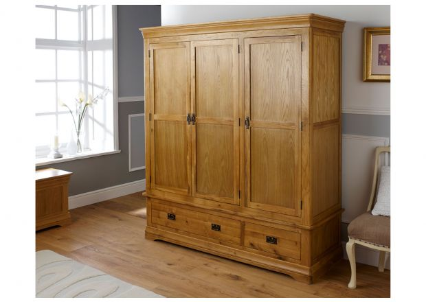 Farmhouse Country Oak Large Triple Oak Wardrobe - GET 20% OFF WITH CODE SPRINGDEAL