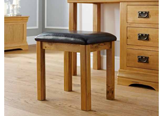 Farmhouse Country Oak Dressing Table Stool Black Pad