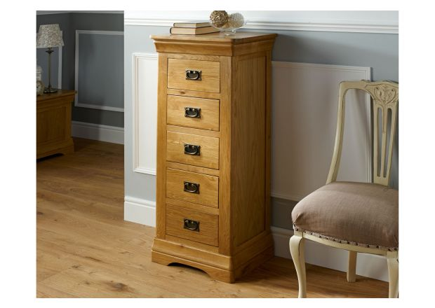 Farmhouse Country Oak 5 Drawer Tallboy Narrow Chest of Drawers - SUMMER SALE