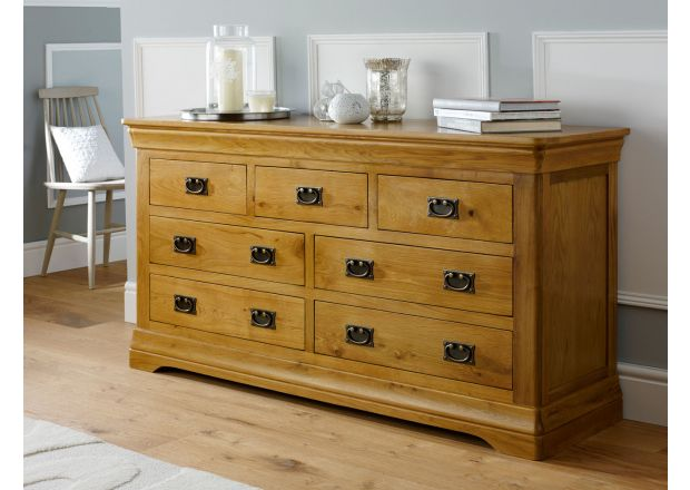 Farmhouse Country Oak 3 Over 4 Large Chest of Drawers - SUMMER SALE
