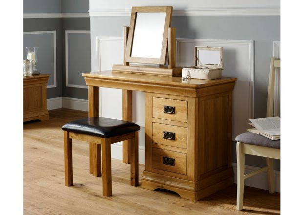 Farmhouse Country Oak Dressing Table Mirror Stool Set - SPRING SALE