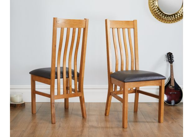 Chelsea Oak Dining Chair Brown Leather Pad - SPRING SALE