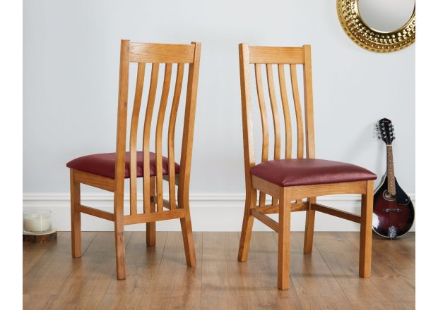 Chelsea Oak Dining Chair Red Leather Pad - AUGUST MEGA DEAL