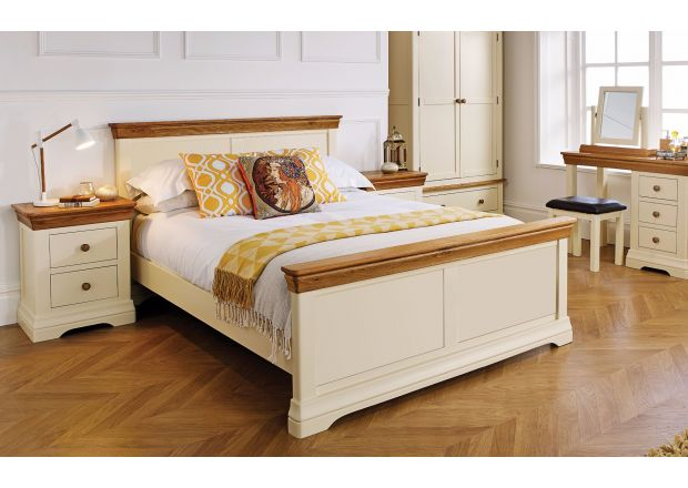 Farmhouse Country Oak Cream Painted 5 Foot King Size Bed - AUTUMN SALE