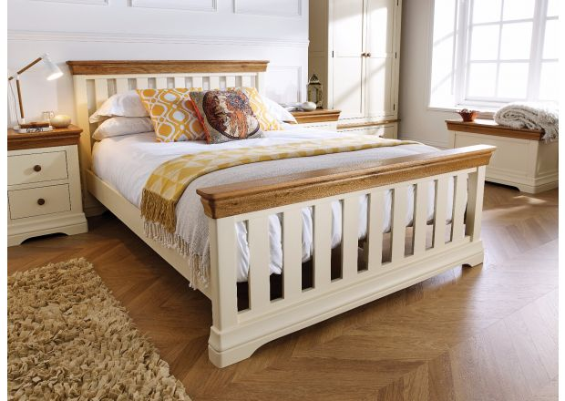 Farmhouse Country Oak Cream Painted Slatted 5 Foot King Size Bed - AUTUMN SALE