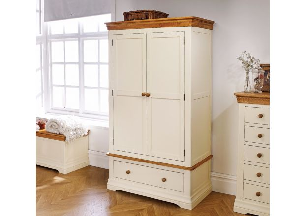Farmhouse Country Oak Cream Painted Double Wardrobe - SPRING SALE