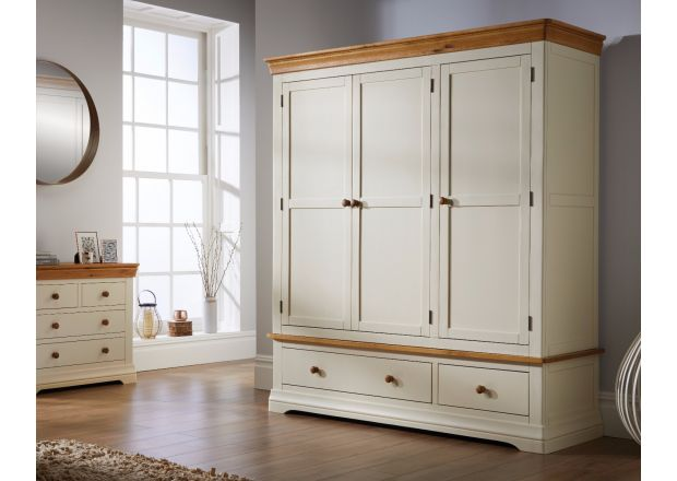 Farmhouse Country Oak Cream Painted Triple Wardrobe