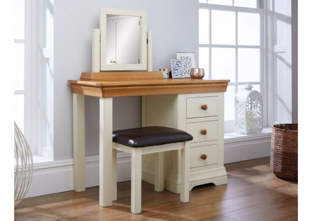 Farmhouse Country Oak Cream Painted Dressing Table Mirror Stool Set