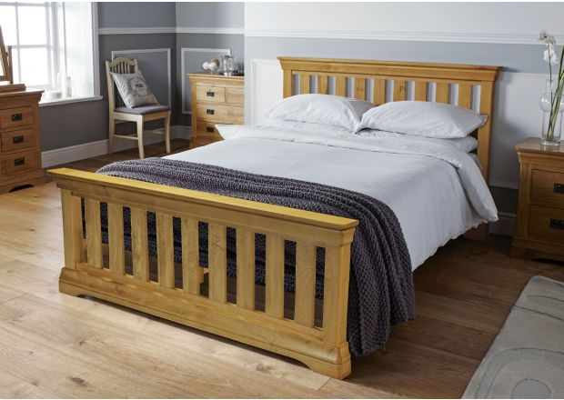 Farmhouse Country Oak Slatted 4ft 6 Inches Double Bed - AUTUMN SALE