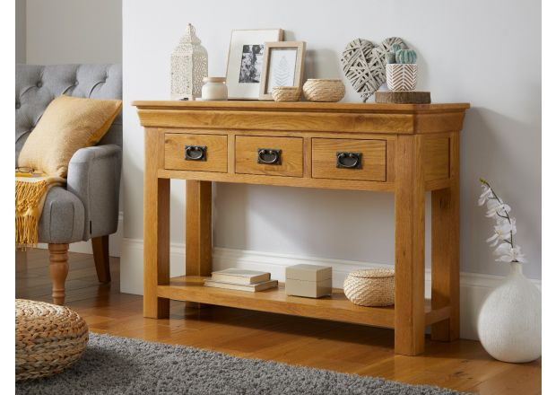 Farmhouse 3 Drawer Large Oak Console Table - French Inspired Design