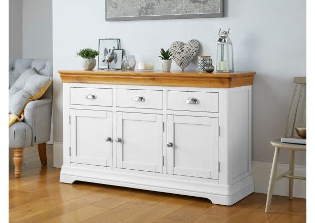 Farmhouse White Painted 140cm Large Oak Sideboard