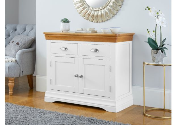 Farmhouse White Painted 100cm Oak Sideboard