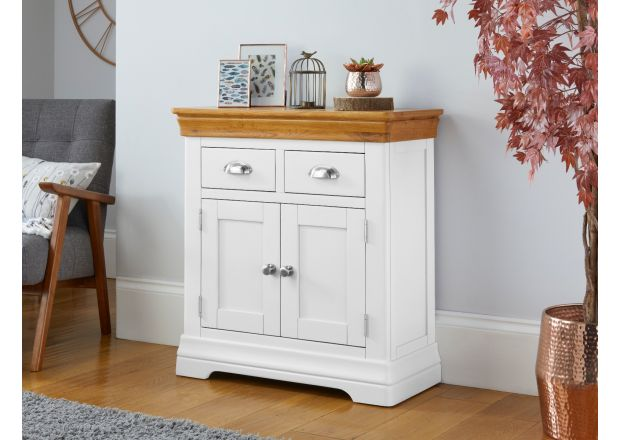 Farmhouse White Painted Small 80cm Oak Sideboard