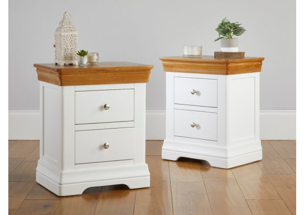 Pair of Farmhouse White Painted 2 Drawer Oak Bedside Tables