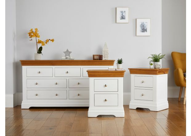 Farmhouse White Painted 3 over 4 chest of drawers and pair of Bedside Tables