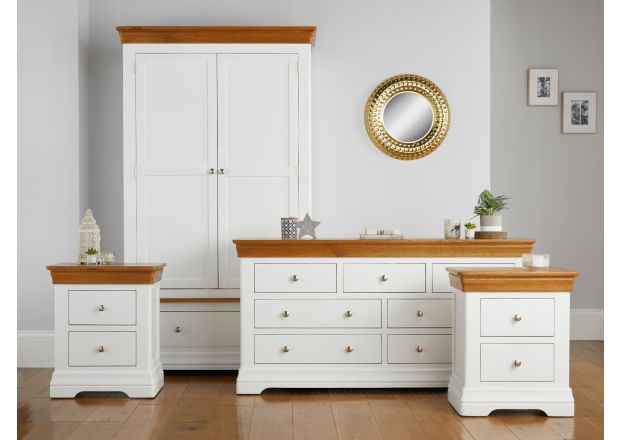 Farmhouse White Painted Oak Bedroom Set, Double Wardrobe, Large Chest of Drawers and Pair of Bedside Tables