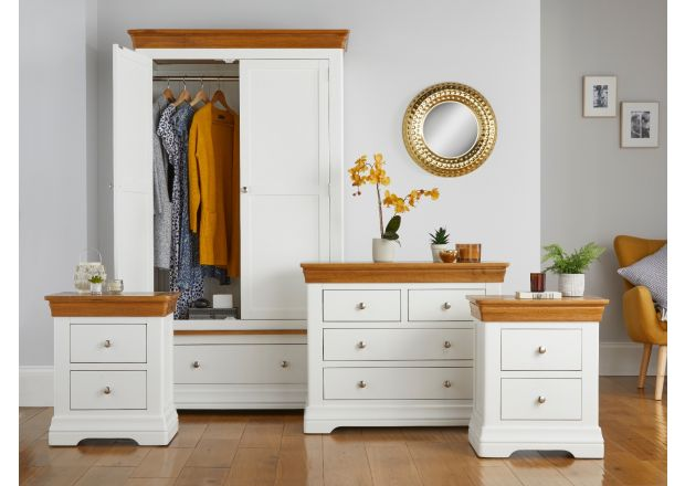Farmhouse White Painted Oak Bedroom Set, Wardrobe, Chest of Drawers and Pair of Bedside Tables