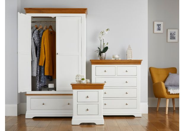 Farmhouse White Painted Oak Bedroom Set, Wardrobe, Chest of Drawers and Bedside Table - wardrobe open