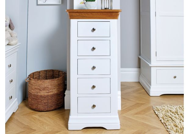 Farmhouse White Painted 5 Drawer Oak Tallboy Chest of Drawers - SUMMER SALE