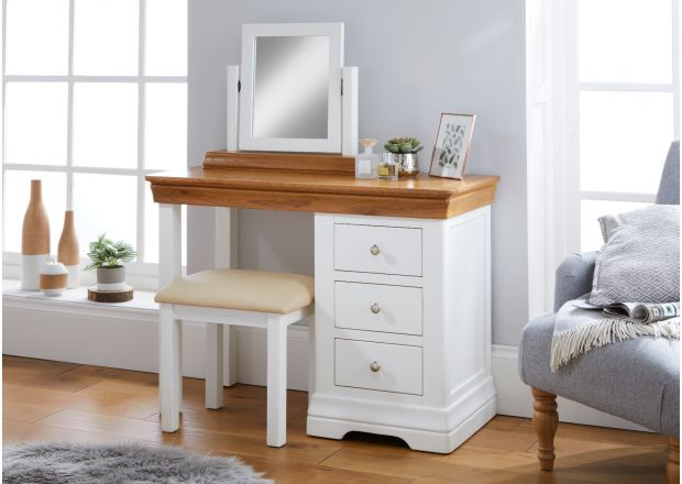 Farmhouse White Painted Oak Single Dressing Table