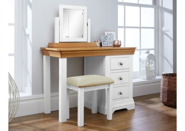 Farmhouse White Painted Oak Dressing Table Mirror Stool Set