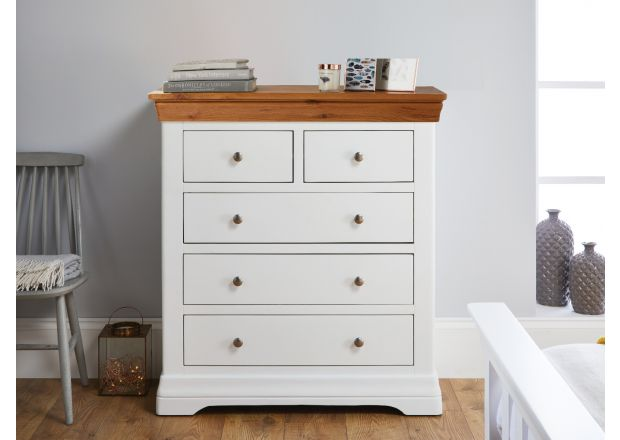 Farmhouse White Painted 2 Over 3 Oak Chest of Drawers - AUTUMN SALE