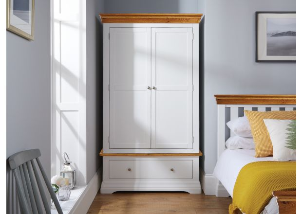 Farmhouse White Painted 2 Door Double Wardrobe with Drawer - BLACK TAG SALE